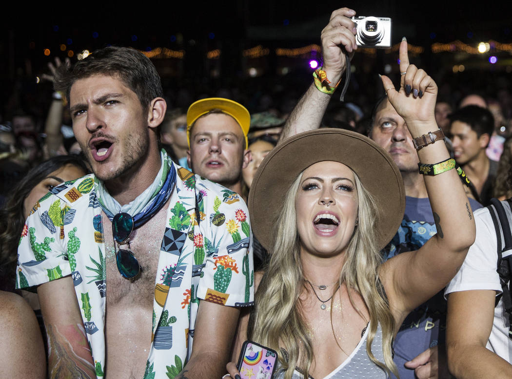 Fans cheer for Of Monsters and Men on the Downtown Stage during the second day of Life is Beaut ...