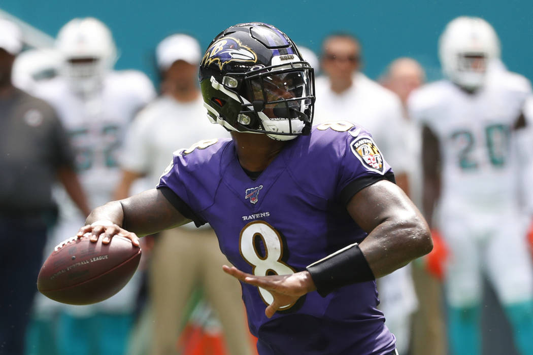 In this Sunday, Sept. 8, 2019, file photo, Baltimore Ravens quarterback Lamar Jackson (8) looks ...