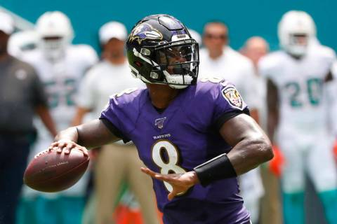 In this Sunday, Sept. 8, 2019, file photo, Baltimore Ravens quarterback Lamar Jackson (8) looks ...