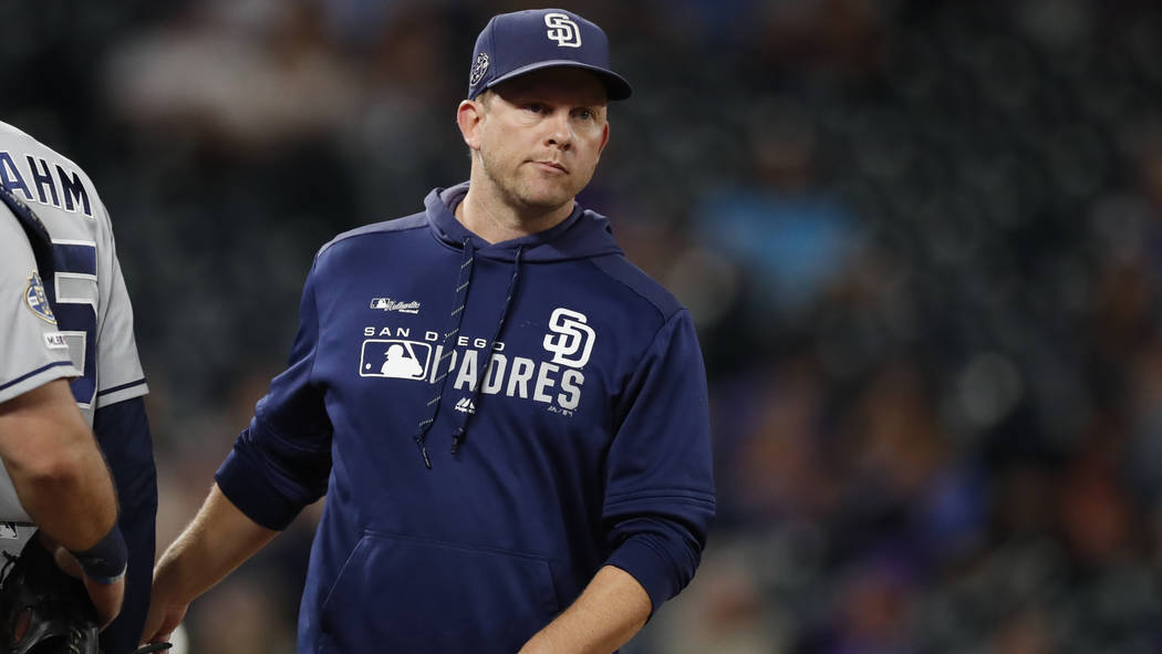 San Diego Padres manager Andy Green (14) in the eighth inning of a baseball game Friday, Sept. ...