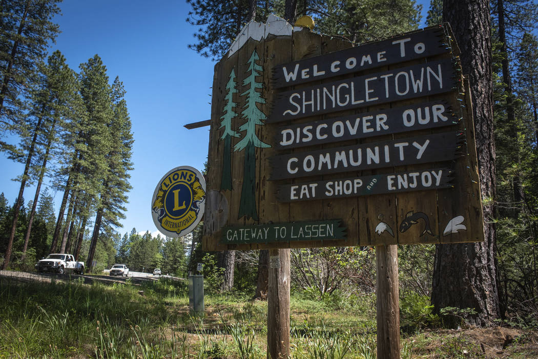 In this photo taken June 11, 2019, is a sign outside Shingletown, Calif. The town got its name ...