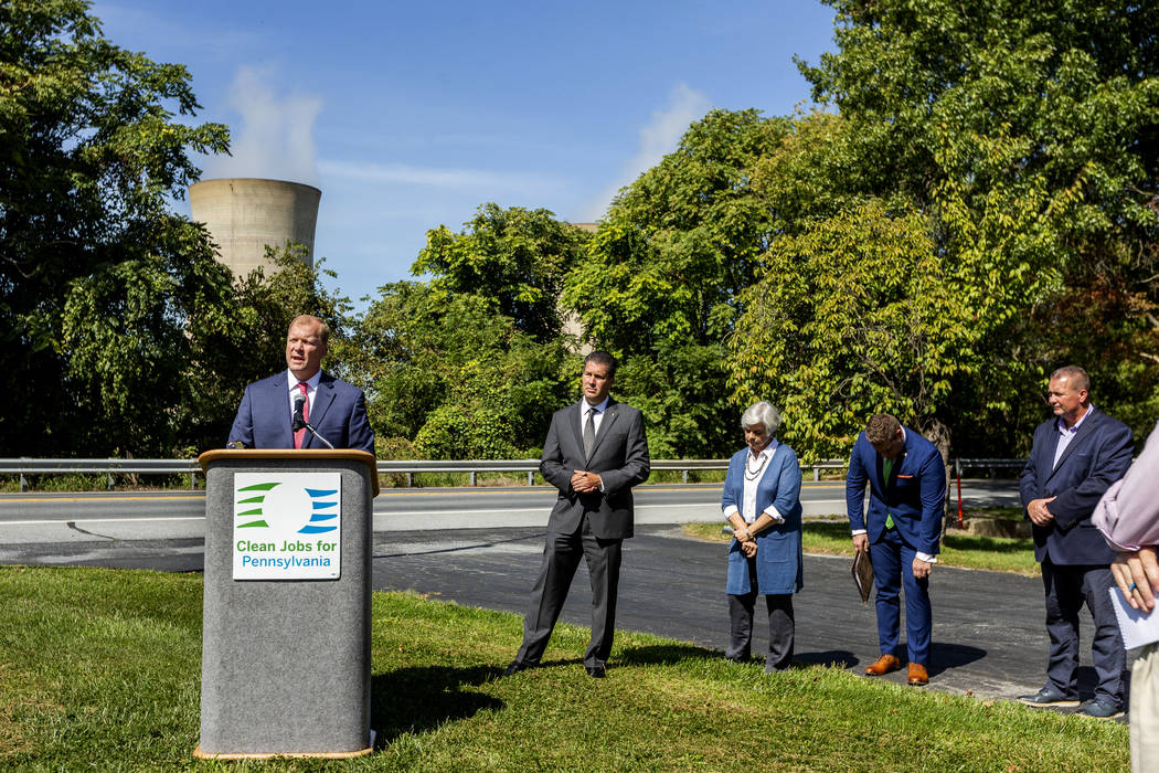 Mike Pries, Dauphin County commissioner, speaks during a press conference on the shut down of T ...