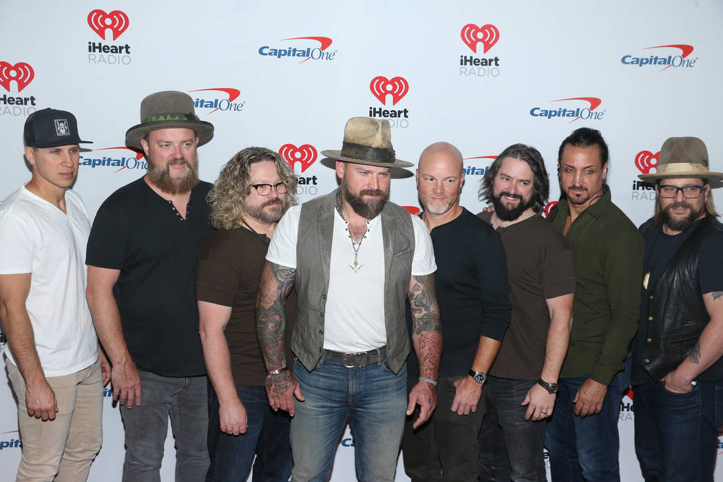 Zac Brown Band pose on the iHeartRadio red carpet at T-Mobile Arena in Las Vegas, Saturday, Sep ...