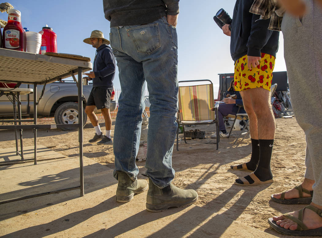 Red cherry boxers are welcome during breakfast about George Morrow's RV site during the Alienst ...