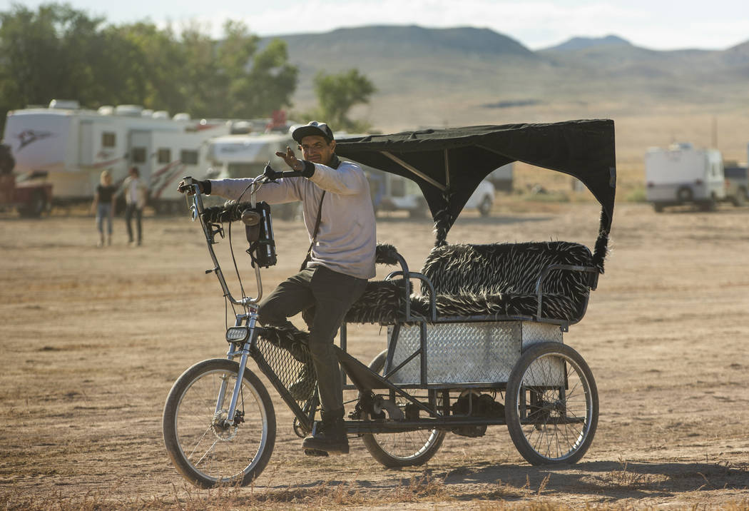 Bicycle coaches are available for rides about the festival grounds during the Alienstock festiv ...