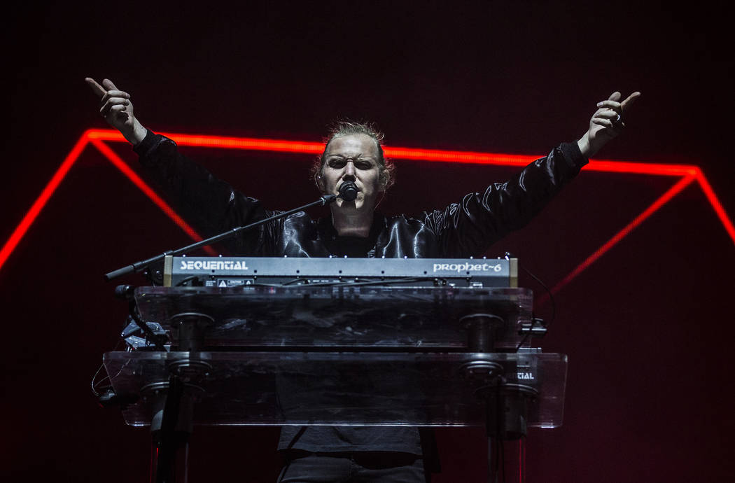 Rüfüs Du Sol front man Tyrone Lindqvist performs on the Bacardi Stage during the seco ...