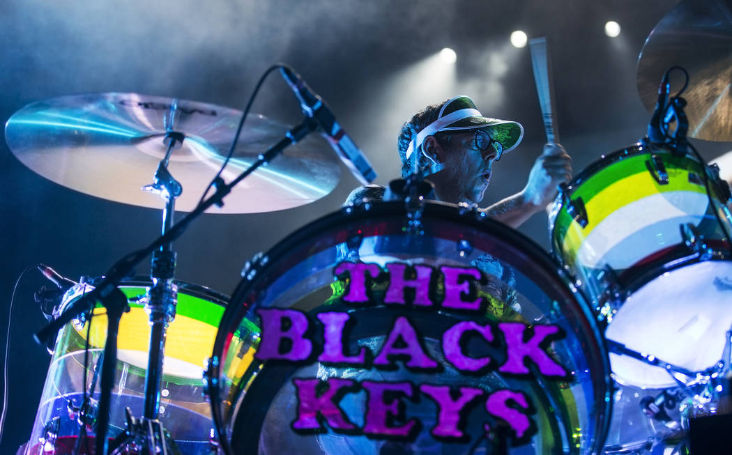 The Black Keys drummer Patrick Carney performs on the Downtown Stage during the second day of ...