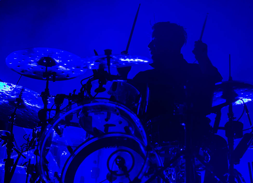 RŸfŸs Du Sol drummer James Hunt performs on the Bacardi Stage during the second day ...