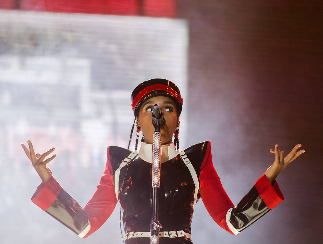 Janelle Monáe performs on the Bacardi Stage during the second day of Life is Beautiful on ...