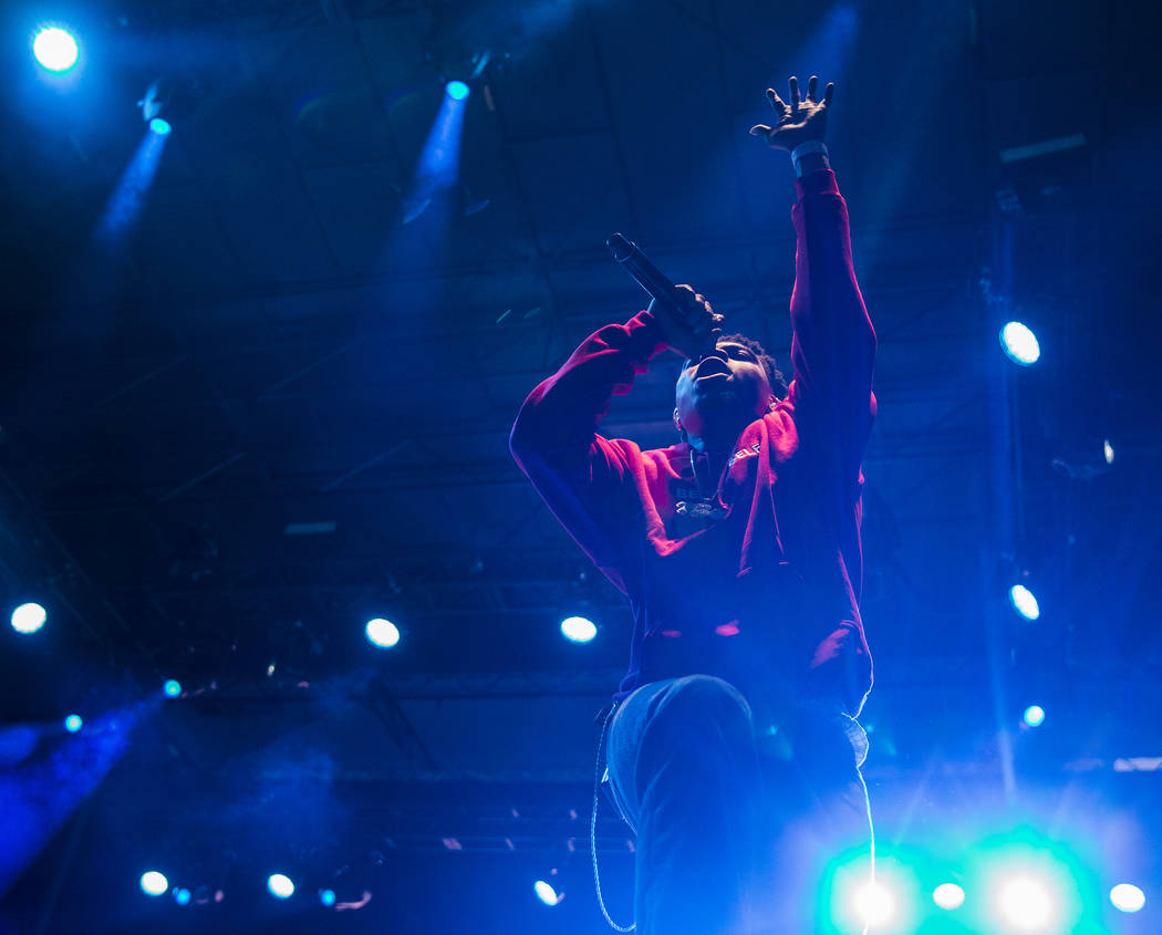 Taylor Bennett, brother of Chance the Rapper, performs on the Huntridge Stage during the second ...