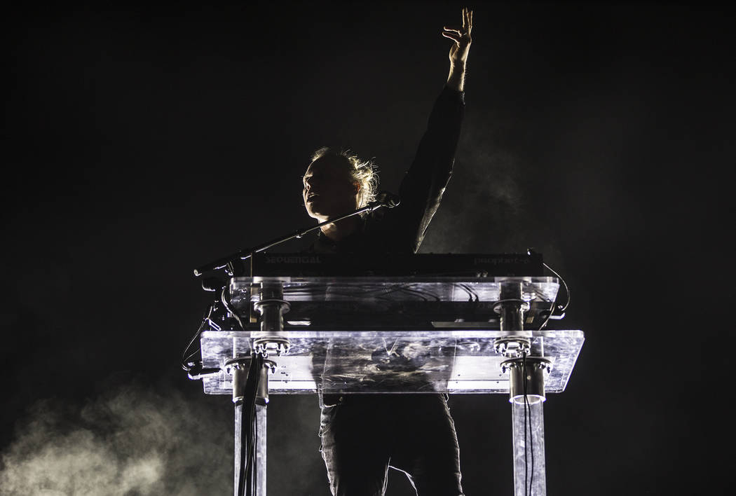 RŸfŸs Du Sol front man Tyrone Lindqvist performs on the Bacardi Stage during the se ...