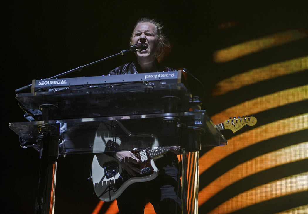 Rufus Du Sol front man Tyrone Lindqvist performs on the Bacardi Stage during the second day of ...