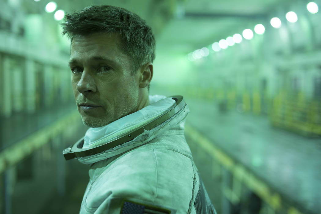"This image released by 20th Century Fox shows Brad Pitt in a scene from ""Ad Astra,"" i ..."