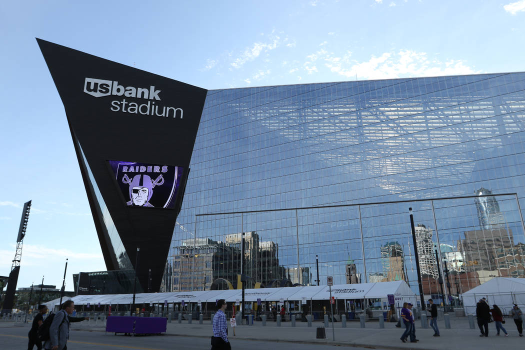 Outside view of U.S. Bank Stadium prior to the start of an NFL game between the Minnesota Vikin ...