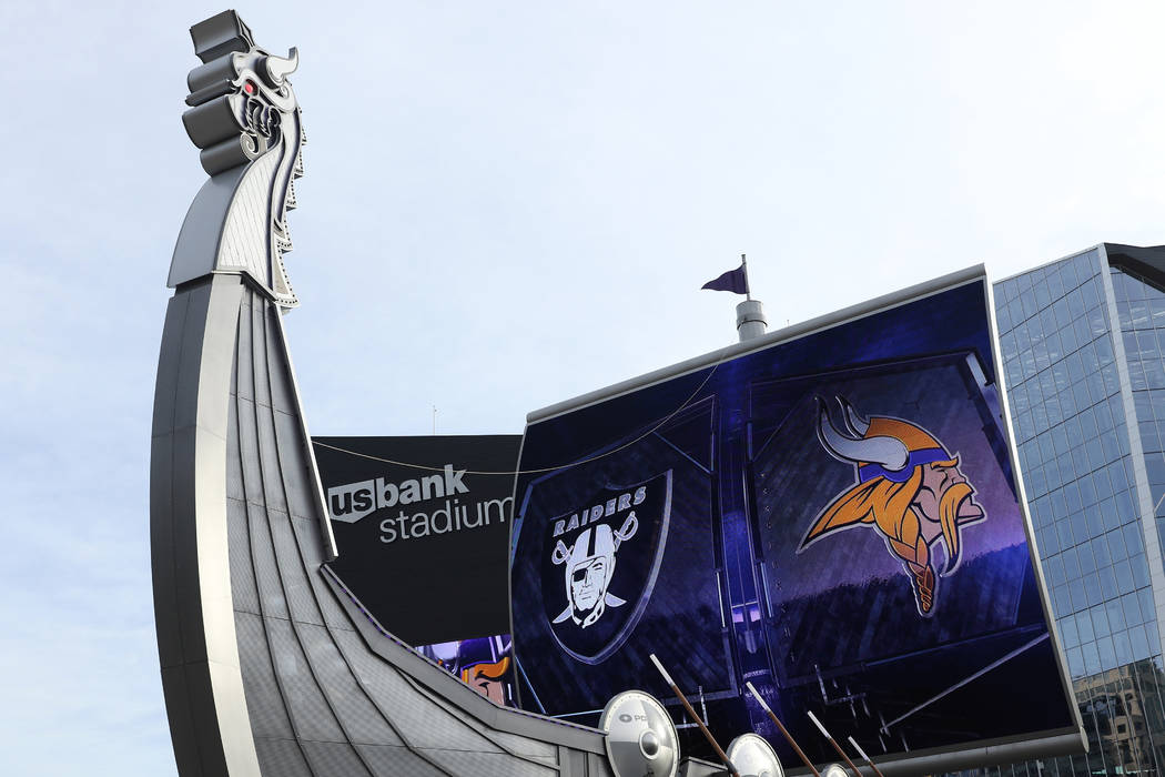 An outside view of U.S. Bank Stadium prior to the start of an NFL game between the Minnesota Vi ...