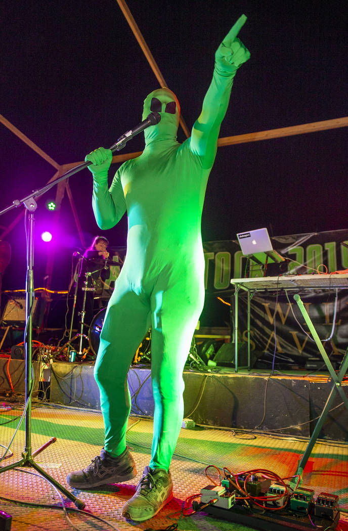 The Alien Comedian does a comedy routine for festivalgoers at the main stage between musical ac ...