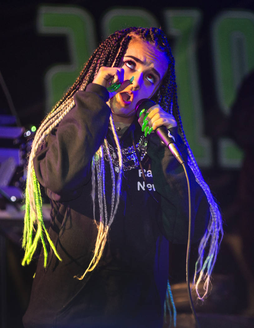 Dancer, rapper and singer Prymrr performs before festivalgoers on the main stage during the Ali ...