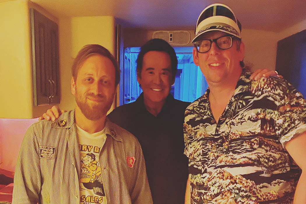 Wayne Newton, middle, is shown with Dan Auerbach and Patrick Carney of The Black Keys before Ne ...