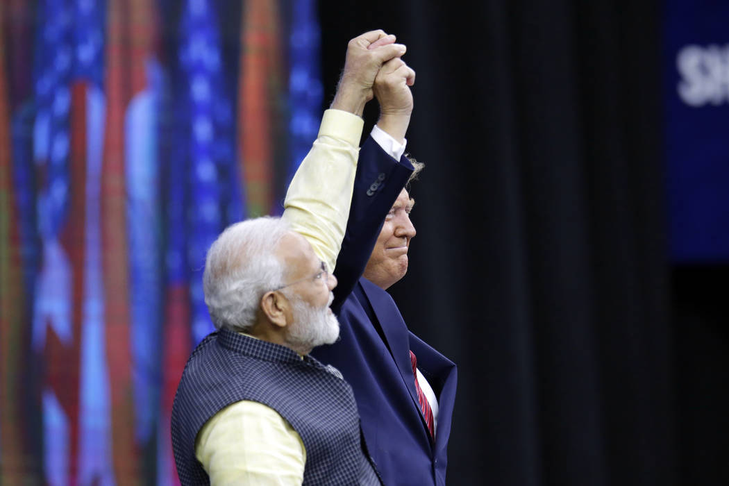India Prime Minister Narendra Modi and President Donald Trump on stage during introductions at ...