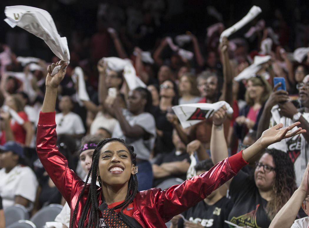 The Las Vegas Aces Wild Card Crew fires up the crowd during their WNBA semifinals game with the ...