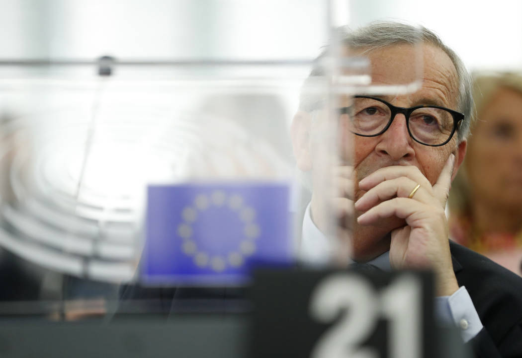 European Commission President Jean-Claude Juncker listens Wednesday, Sept. 18, 2019 in Strasbou ...