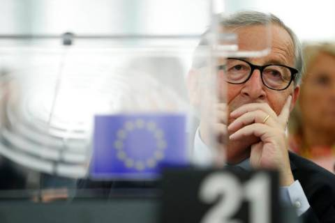 European Commission President Jean-Claude Juncker listens Wednesday, Sept. 18, 2019 in Strasbou ...