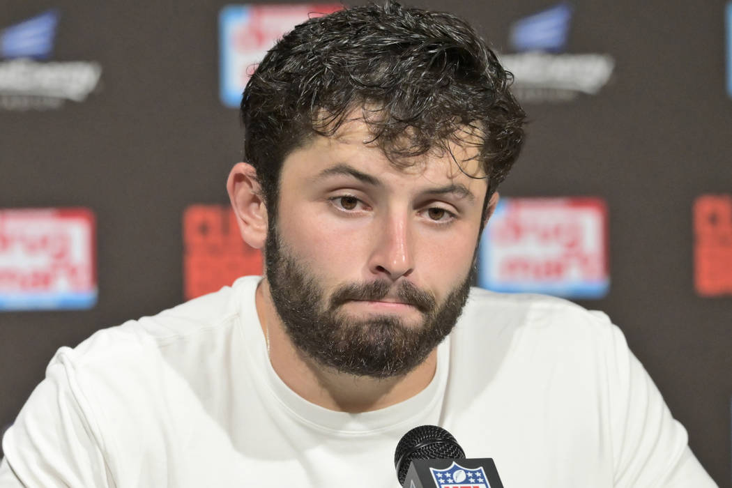 Cleveland Browns quarterback Baker Mayfield speaks during a news conference after an NFL footba ...