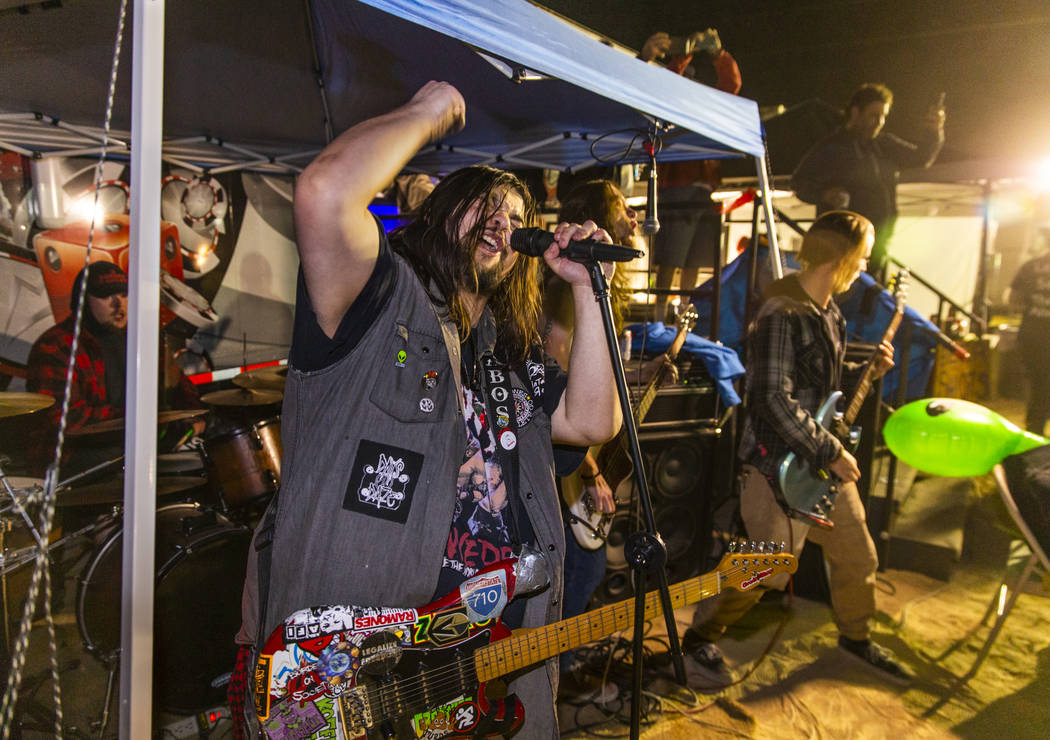 A Burden on Society rocks hard before festivalgoers at the punk rock stage during the Alienstoc ...