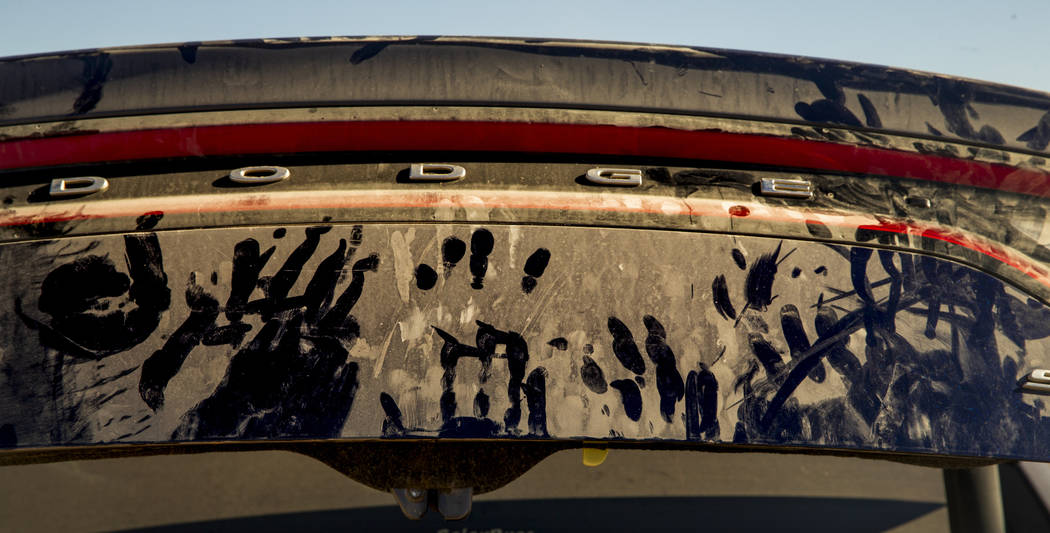Dust covers nearly everything in the near-empty camping area during the Alienstock festival on ...