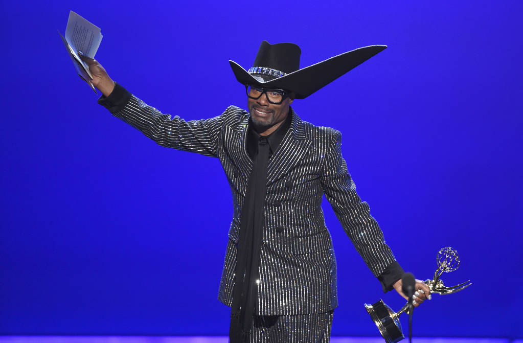 """Billy Porter accepts the award for outstanding lead actor in a drama series for """"Pose"""" at the 7 ..."""