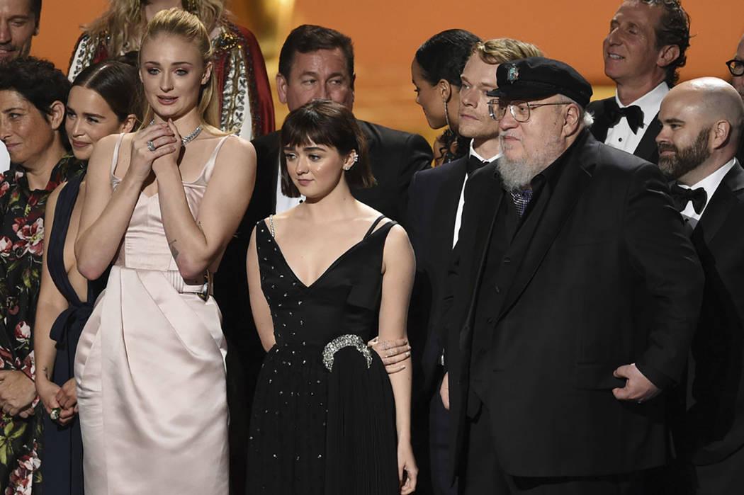 Emilia Clarke, from left, Sophie Turner, Maisie Williams, Alfie Allen, George R. R. Martin and ...