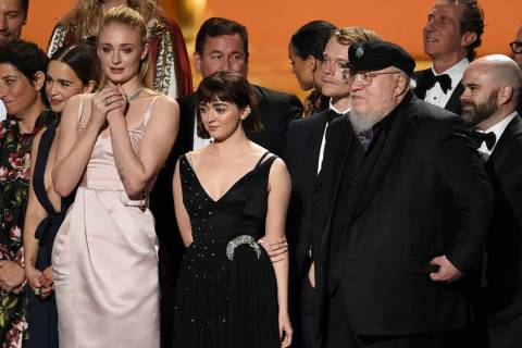 Emilia Clarke, from left, Sophie Turner, Maisie Williams, Alfie Allen, George R. R. Martin and ...