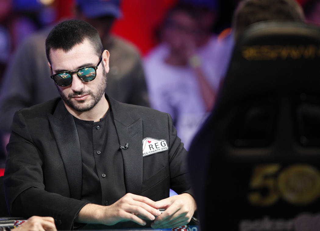 Dario Sammartino on the second day of the main event final table at the World Series of Poker t ...