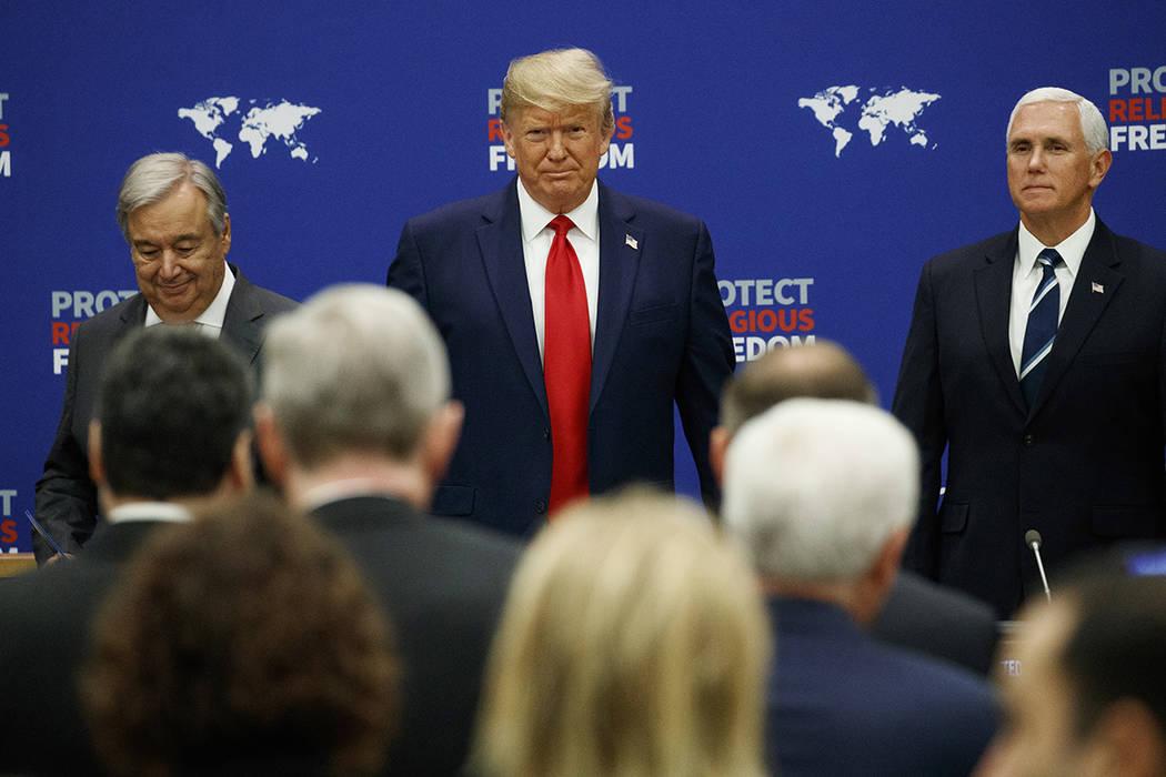 United Nations Secretary General Antonio Guterres, President Donald Trump and Vice President M ...
