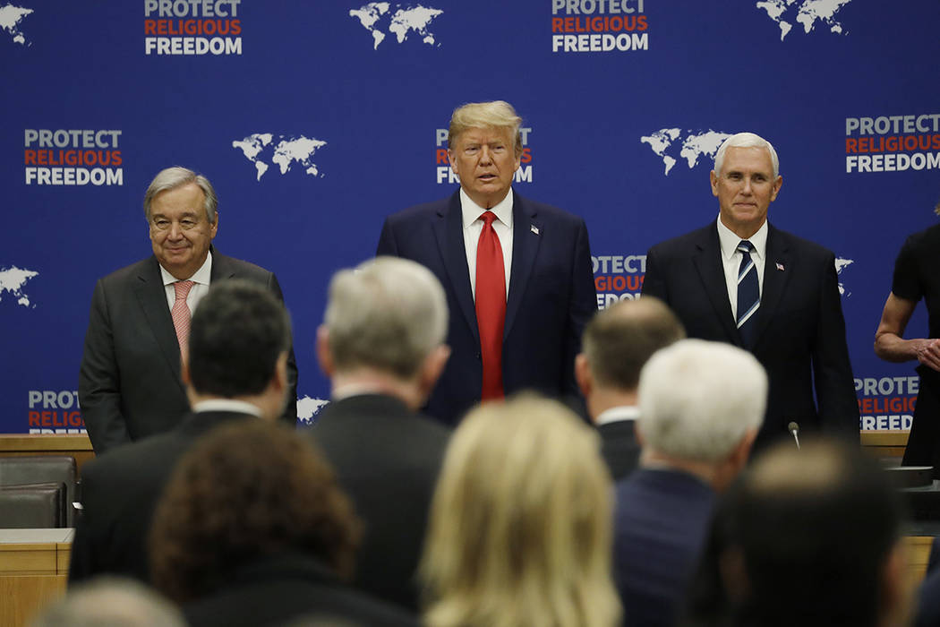 President Donald Trump arrives to speak at an event on religious freedom during the United Nati ...
