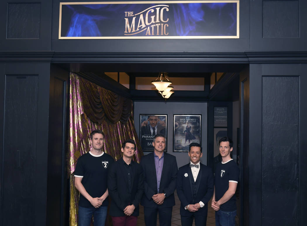 The lineup at The Magic Attic at Bally's: Brendan Murphy, far left, and Scott Hoatson, far righ ...