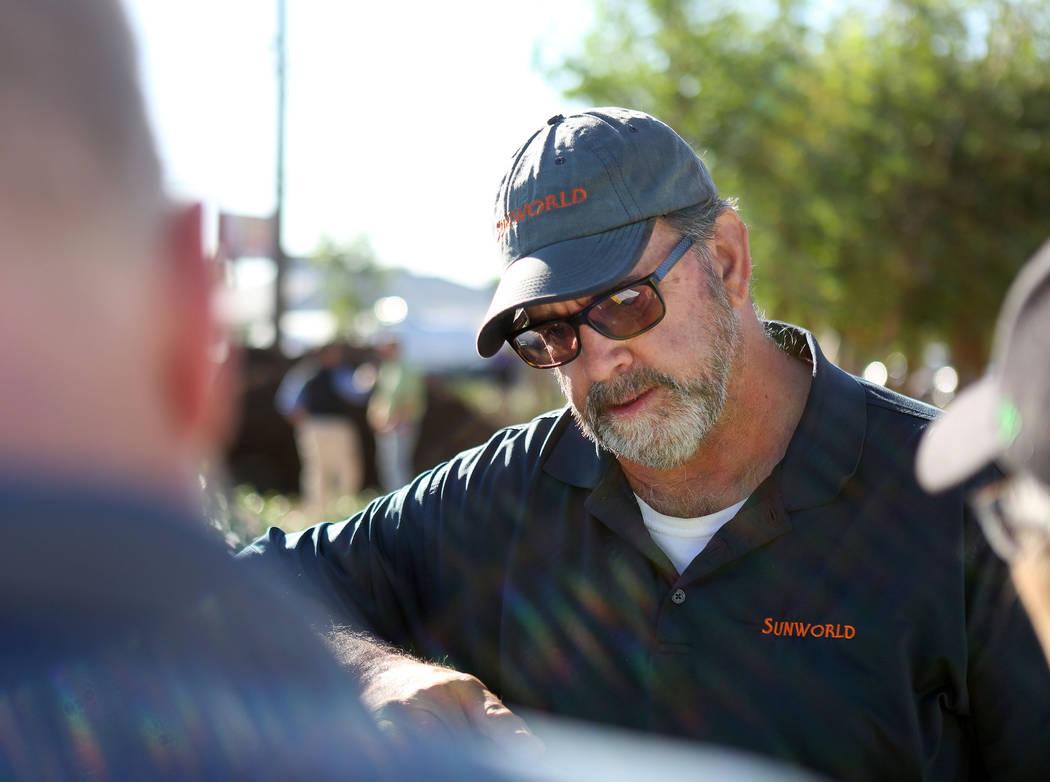 Mark Hamelmann, Sunworld vice president of operations, discusses the memorial garden plans at t ...
