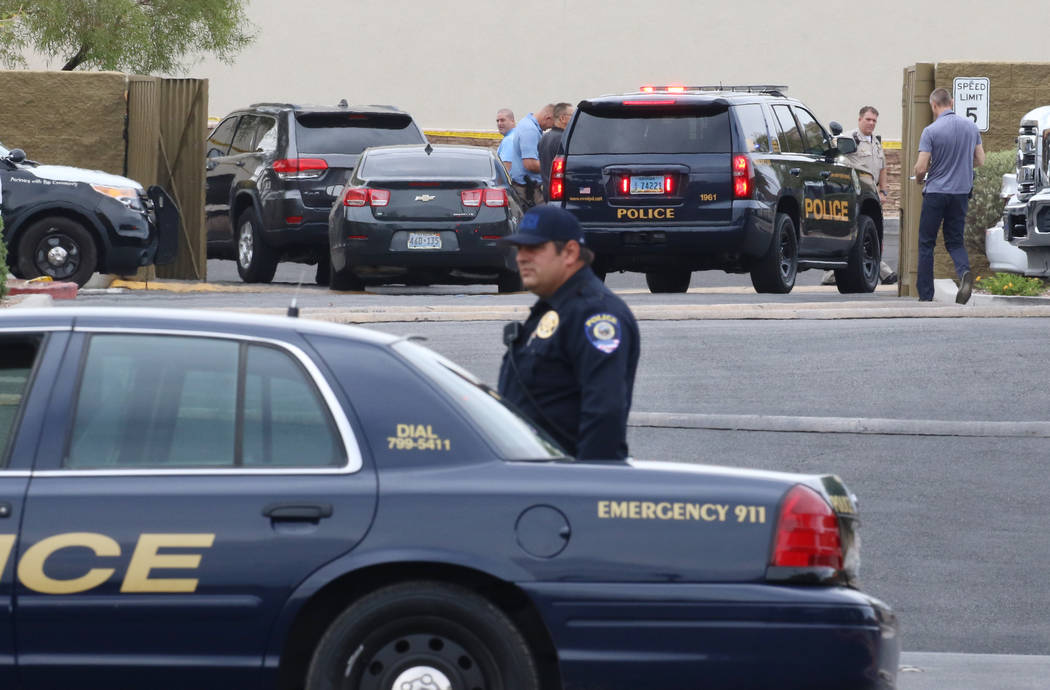 Las Vegas police blocked off part of Rainbow Boulevard at the 7700 block of South Rainbow Boule ...