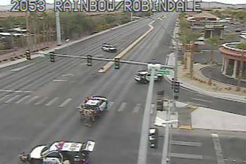 Las Vegas police have blocked off part of Rainbow Boulevard in the southwest valley as they wor ...