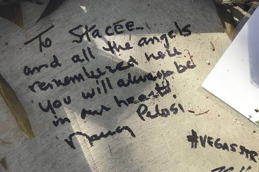 Then House Minority Leader Nancy Pelosi left a handwritten message at the Las Vegas Healing Gar ...