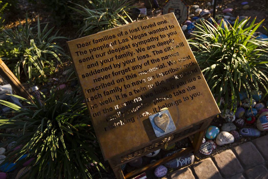 Stones left for loved ones at the Las Vegas Healing Garden in Las Vegas on Wednesday, Sept. 18, ...