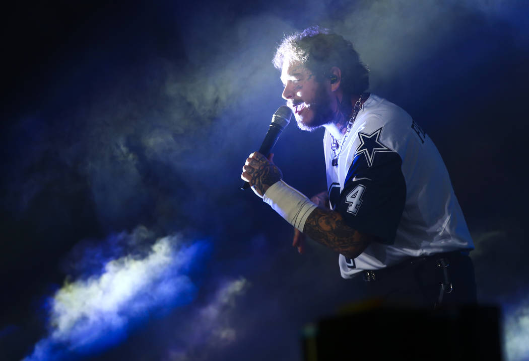 Post Malone performs at the downtown stage during day 3 of the Life is Beautiful festival in do ...