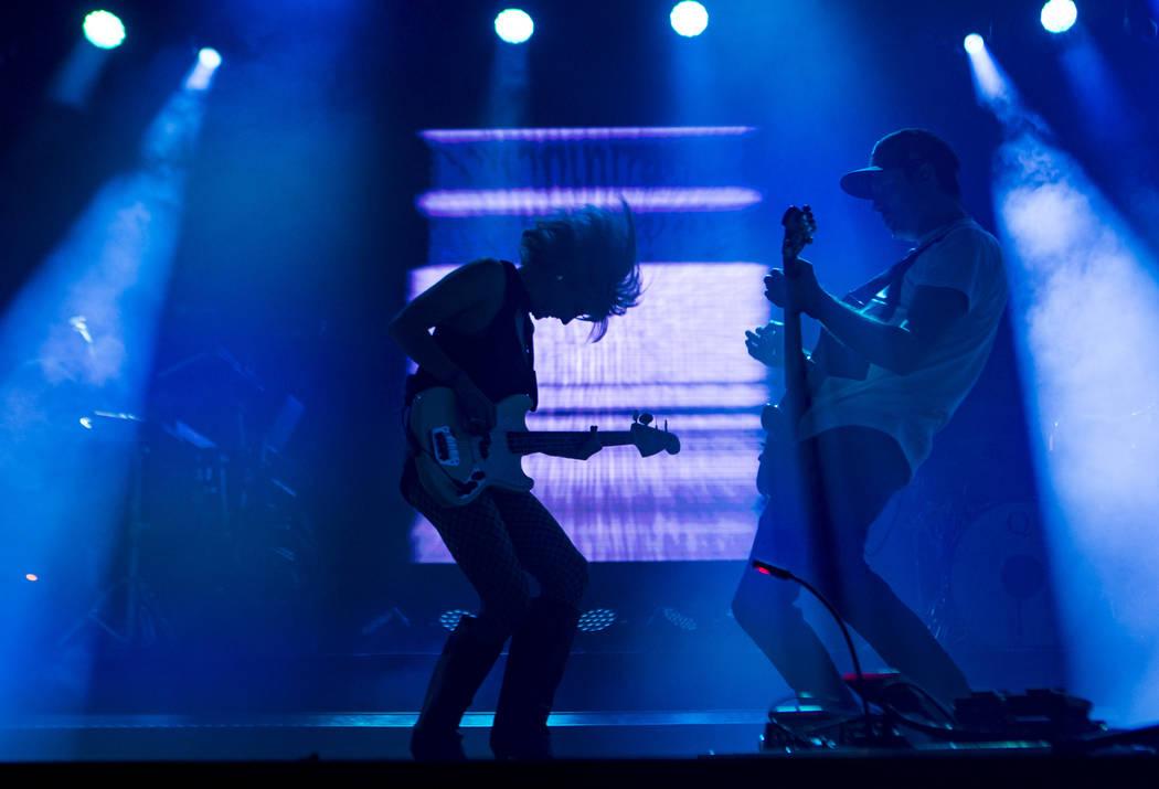 Sarah Barthel, left, and Josh Carter, of Phantogram, perform at the Huntridge stage during day ...