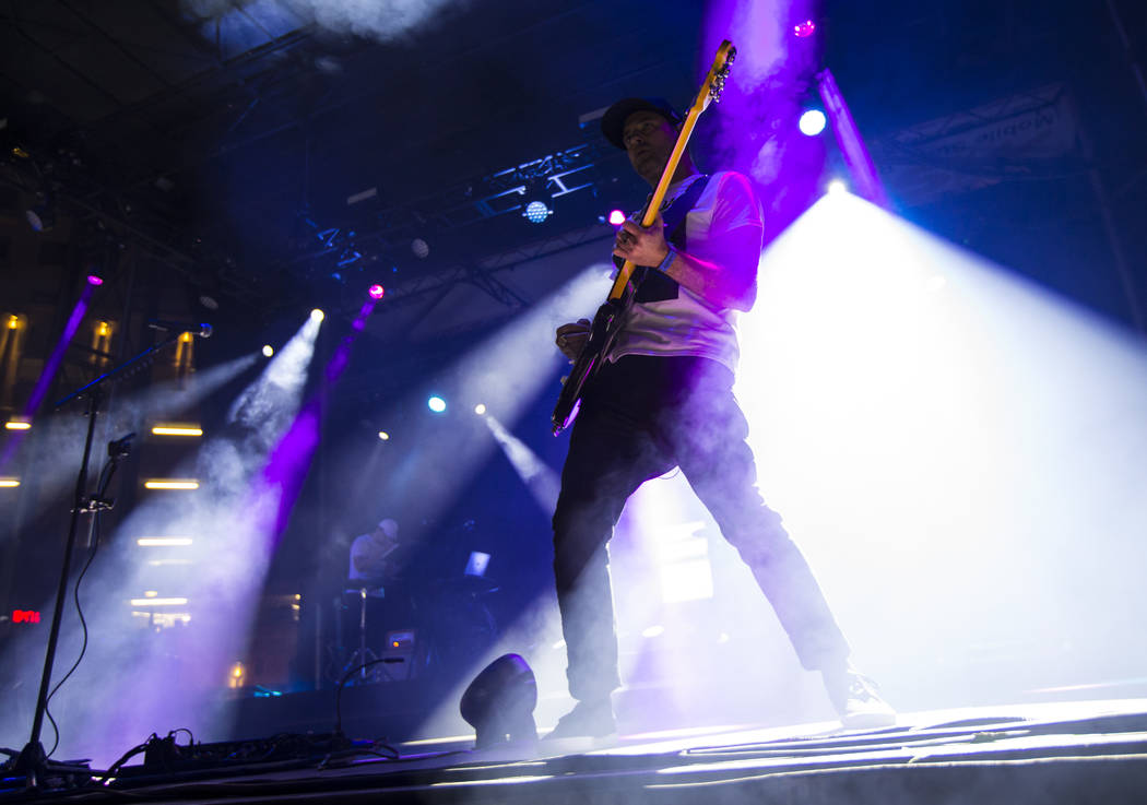 Josh Carter, of Phantogram, performs at the Huntridge stage during day 3 of the Life is Beautif ...