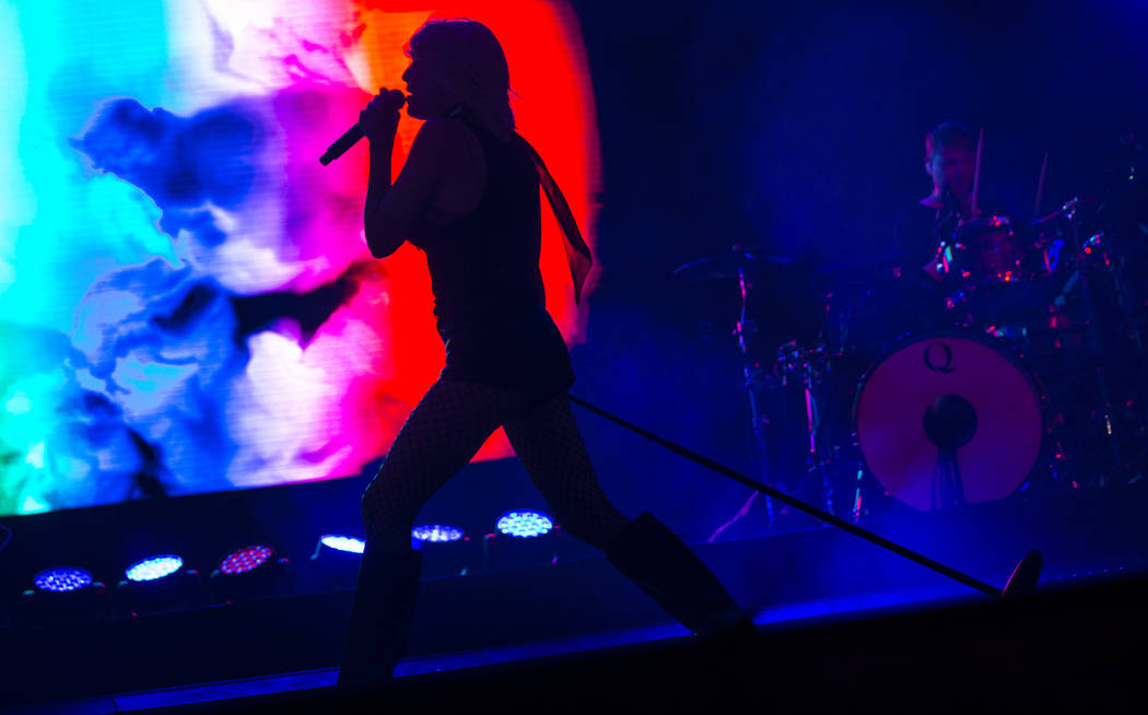 Sarah Barthel, of Phantogram, performs at the Huntridge stage during day 3 of the Life is Beaut ...