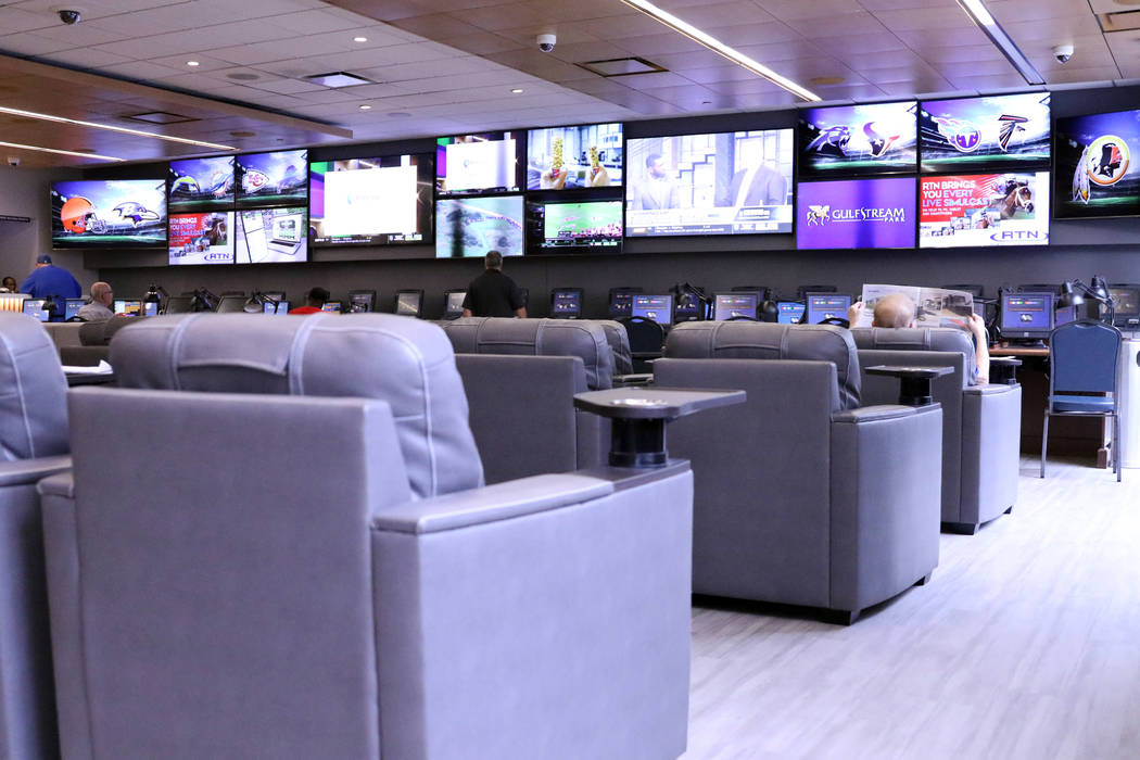 A view inside Winner's Circle sportsbook in Indianapolis, Ind., Sunday, Sept. 29, 2019. (Heidi ...