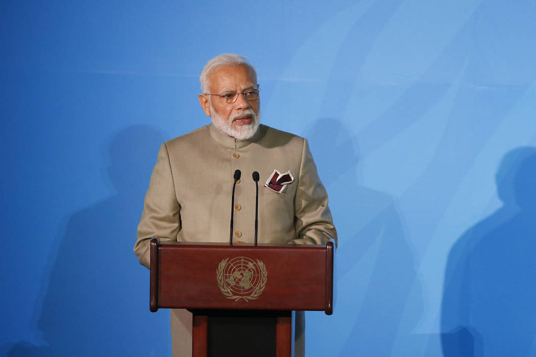India's Prime Minister Narendra Modi addresses the Climate Action Summit in the United Nations ...