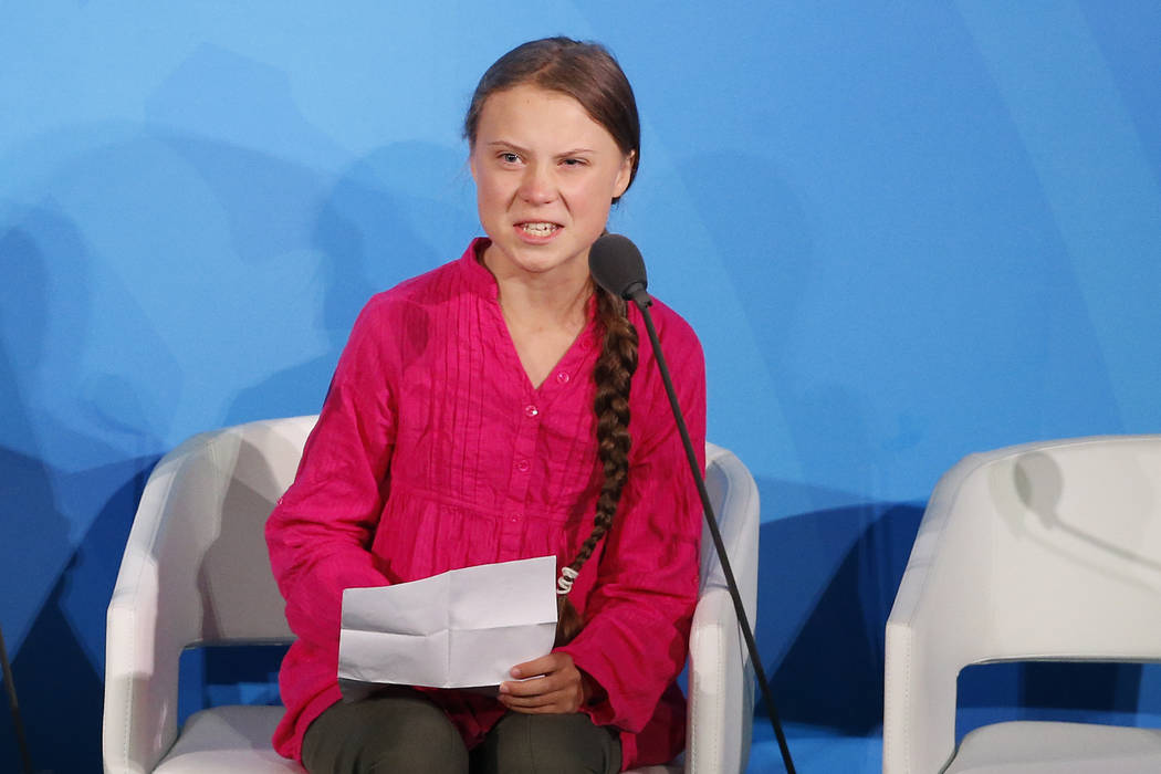 Environmental activist Greta Thunberg, of Sweden, addresses the Climate Action Summit in the Un ...