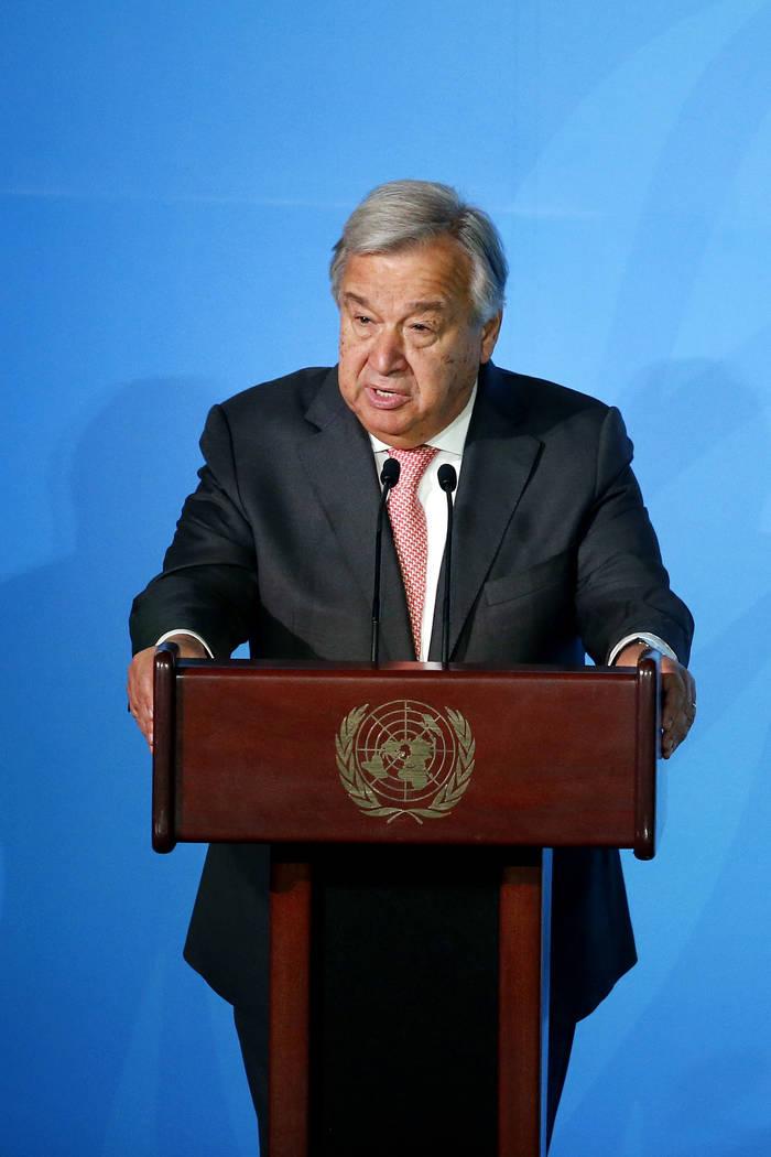 U.N. Secretary-General Antonio Guterres addresses the Climate Action Summit in the United Natio ...