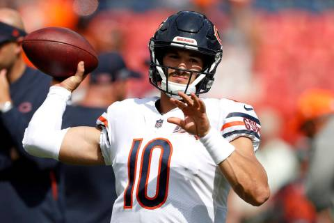 Chicago Bears quarterback Mitchell Trubisky (10) warms up prior to an NFL football game against ...